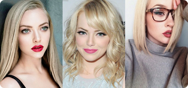 blonde hair with hot color lip